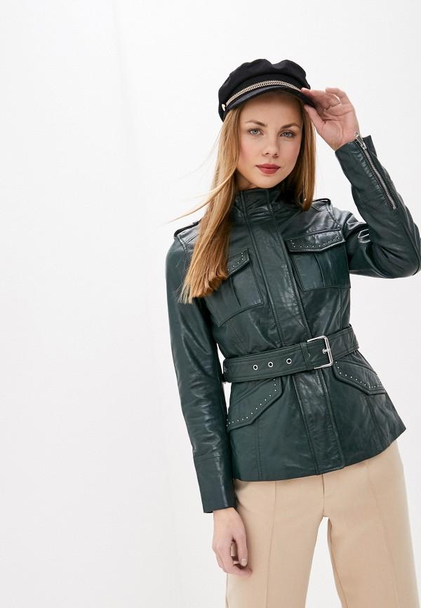 женская кожаные куртка la reine blanche, зеленая