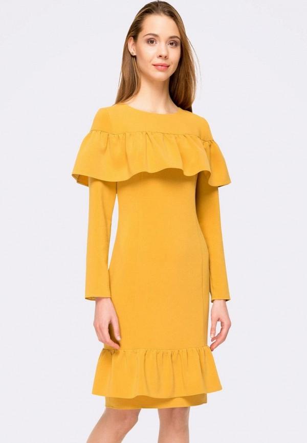 женское платье-футляр cat orange, желтое