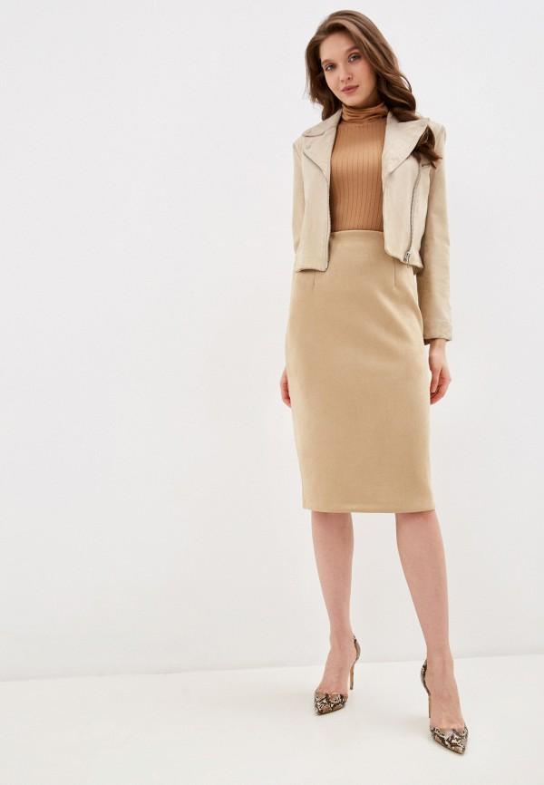 Фото 2 - Женскую юбку Befree бежевого цвета