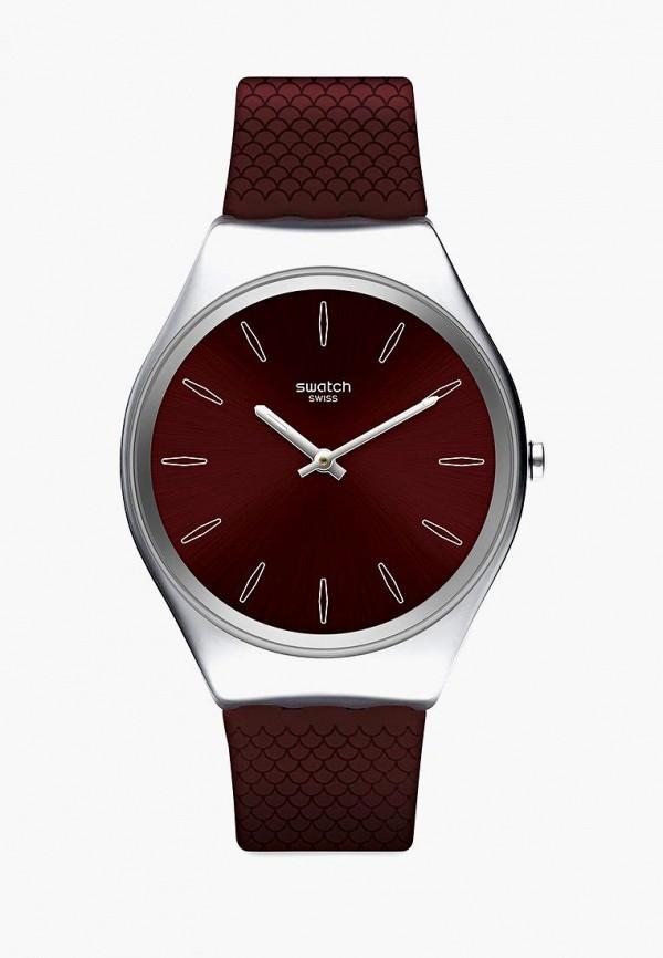 женские часы swatch, бордовые