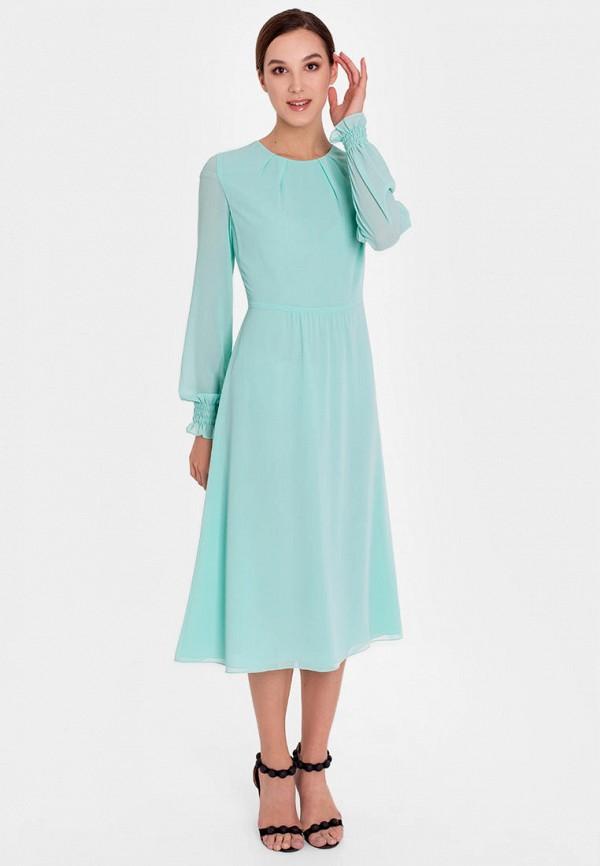 женское повседневные платье nai lu-na by anastasia ivanova, бирюзовое