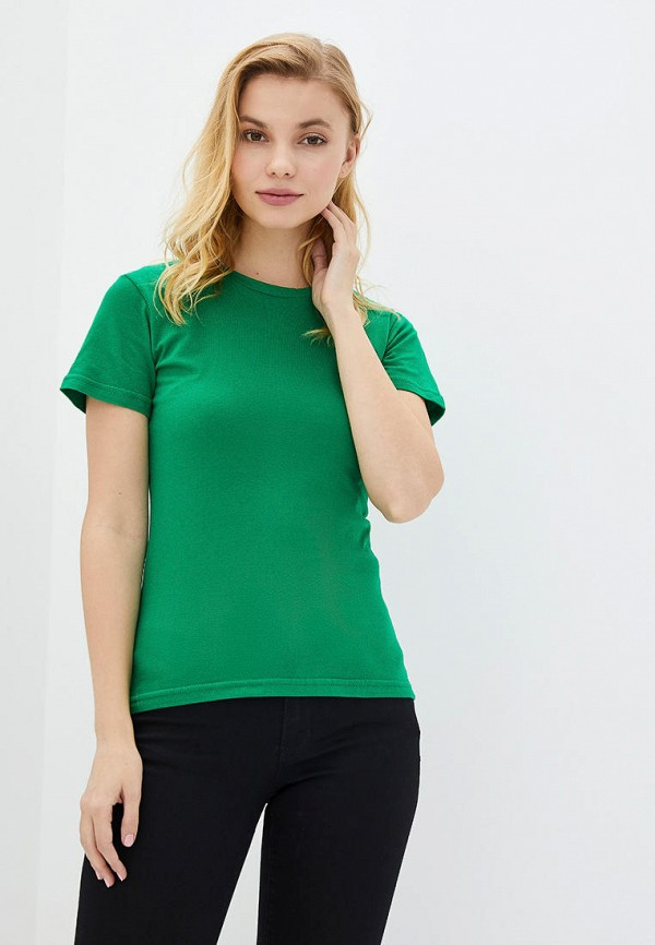 женская футболка роза, зеленая