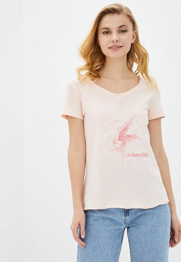 женская футболка роза, розовая