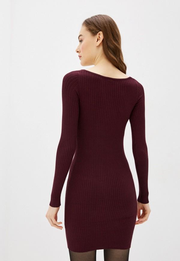 Фото 3 - Женское вязаное платье Befree бордового цвета