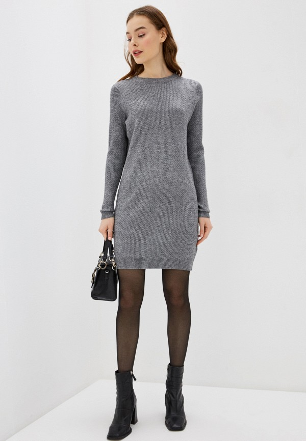 Фото 2 - Женское вязаное платье Befree серого цвета