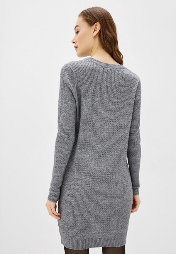 Фото 3 - Женское вязаное платье Befree серого цвета