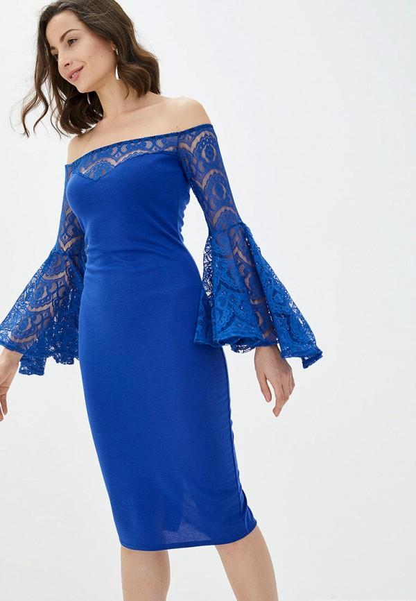 женское платье подіум, синее