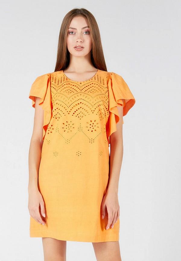 женское повседневные платье ora, оранжевое