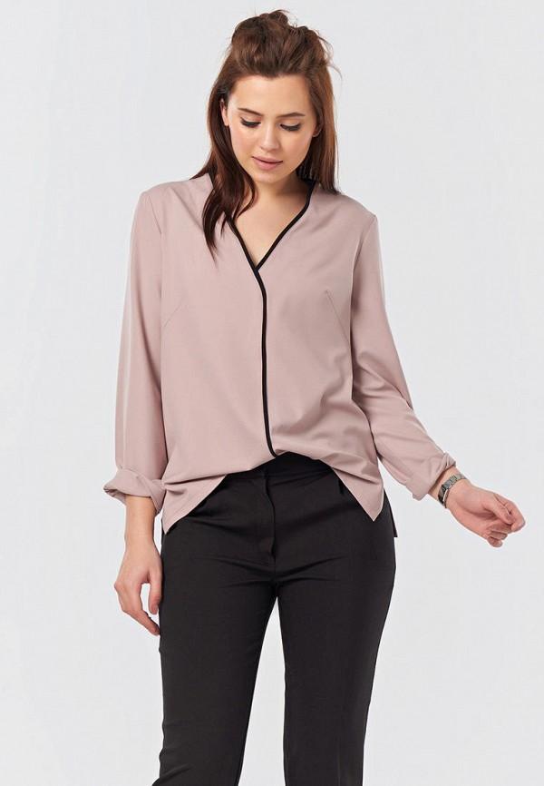 женская блузка с длинным рукавом fly, розовая