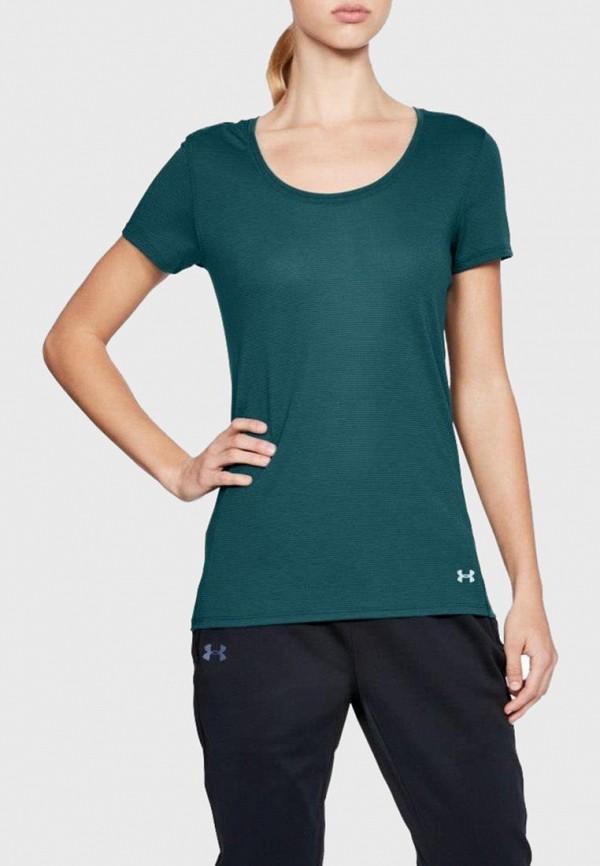 женская спортивные футболка under armour, зеленая