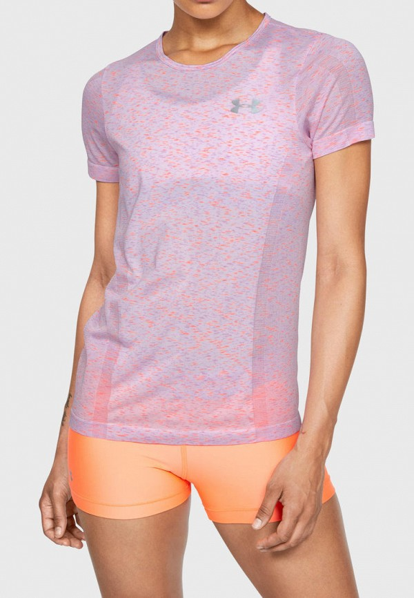 женская спортивные футболка under armour, розовая