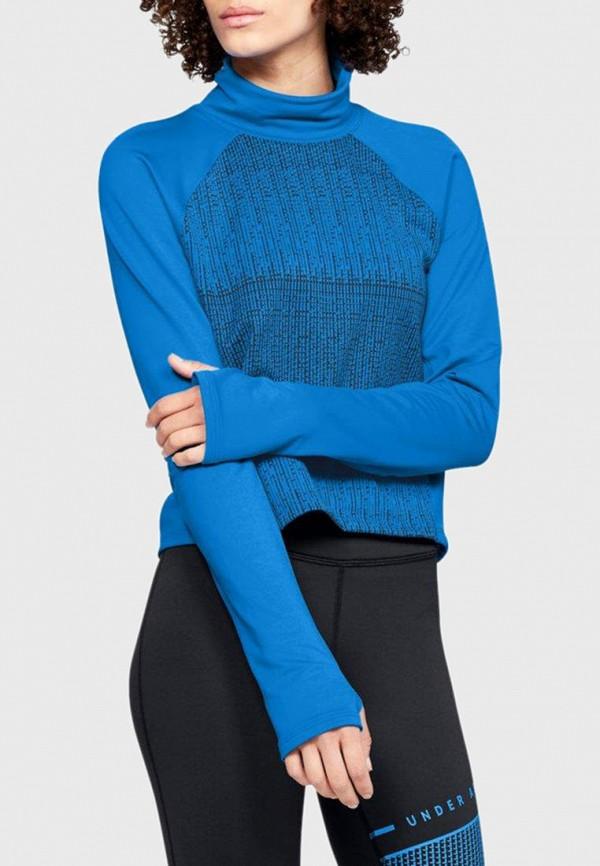 женский лонгслив under armour, синий