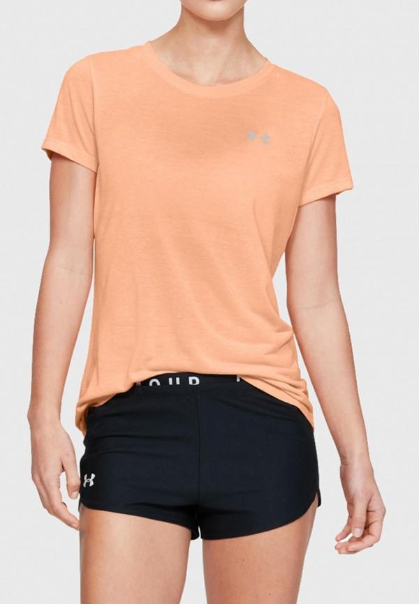 женская спортивные футболка under armour, оранжевая