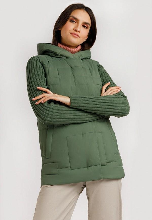 женская утепленные куртка finn flare, зеленая