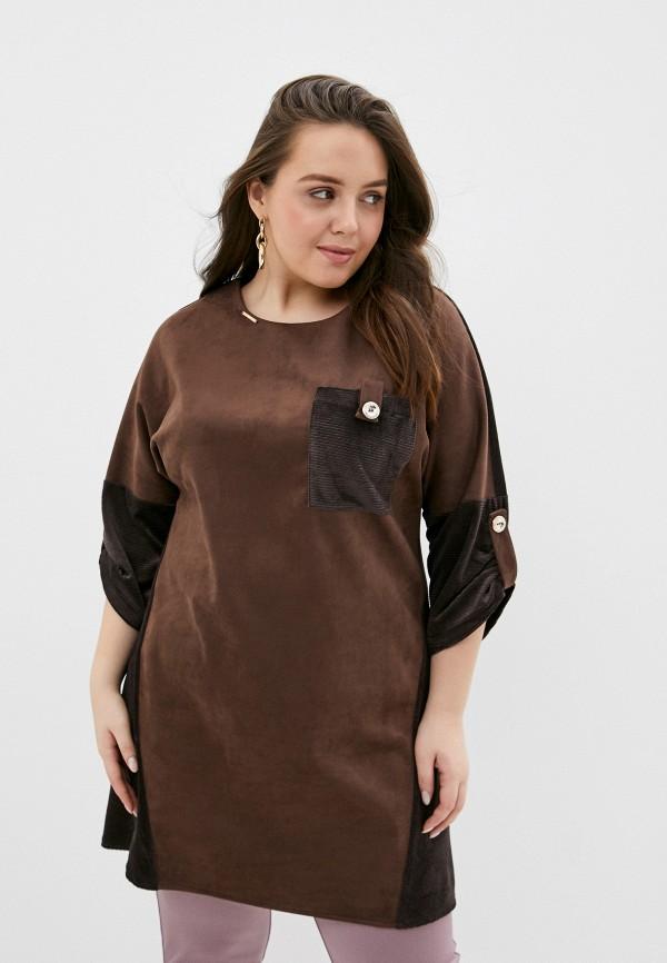 женская туника miss lora, коричневая