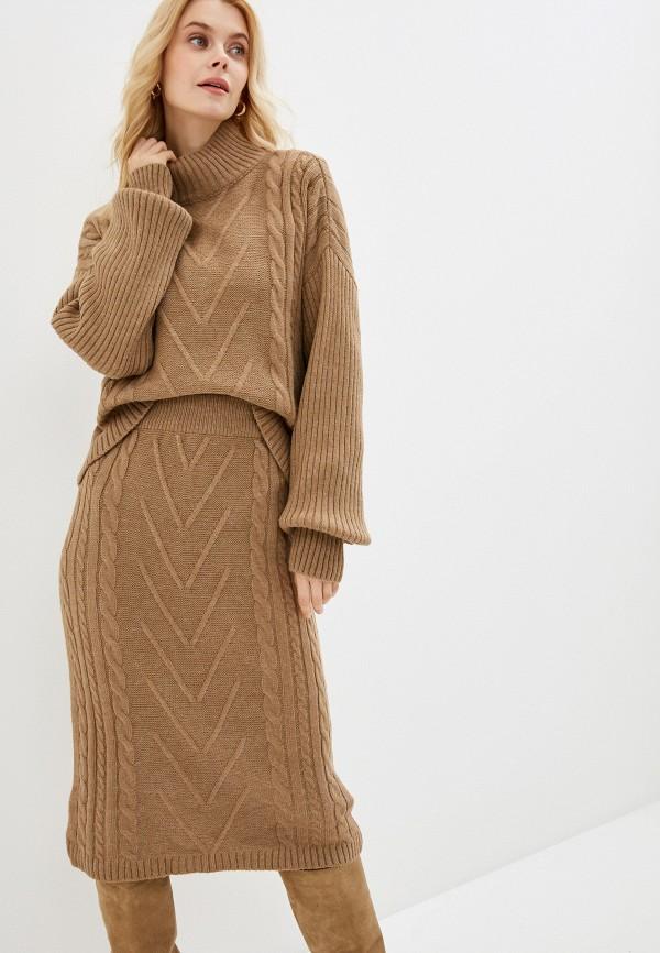 женский вязаные костюм avemod, коричневый