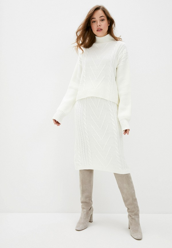 женский вязаные костюм avemod, белый