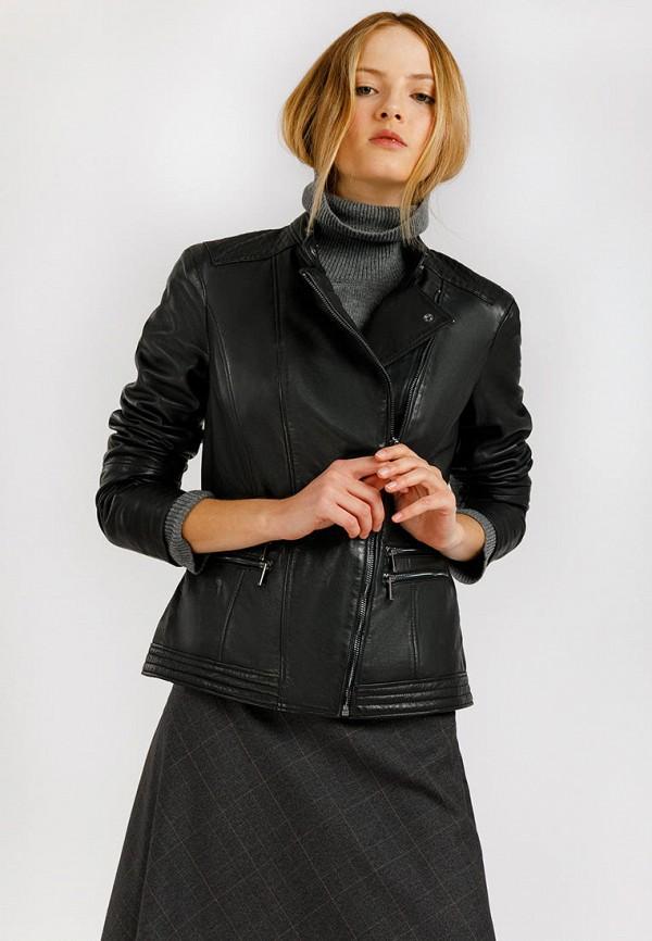 Куртка кожаная Finn Flare черного цвета