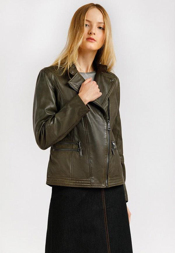 Куртка кожаная Finn Flare цвета хаки