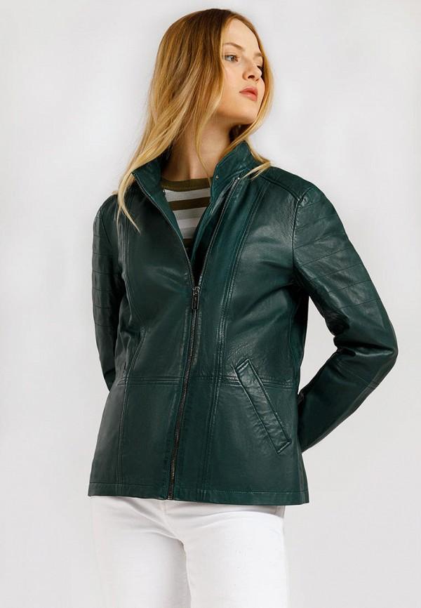 Куртка кожаная Finn Flare зеленого цвета