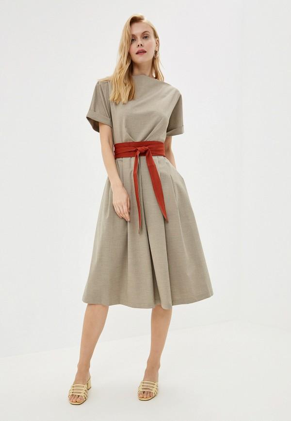 Фото 2 - Женское платье Ummami бежевого цвета