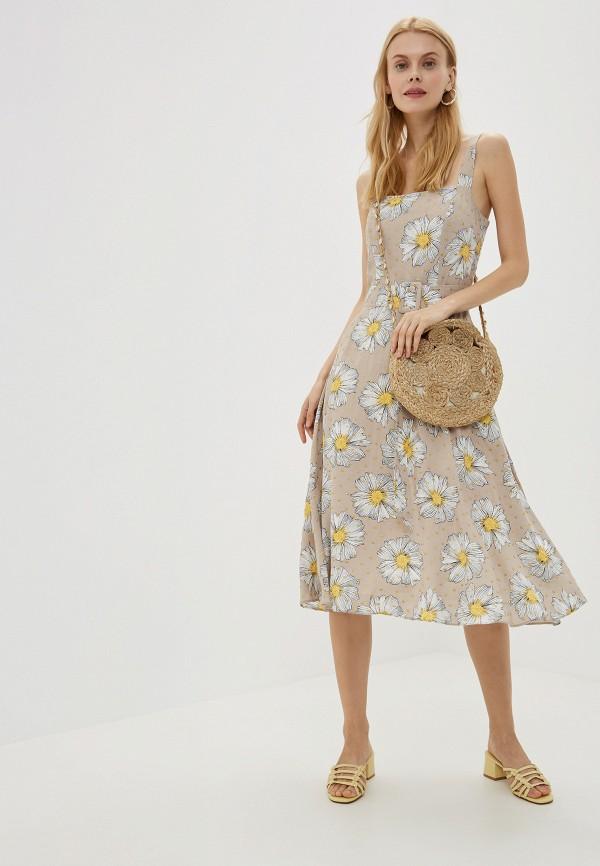 Фото 2 - Женское платье Joymiss бежевого цвета