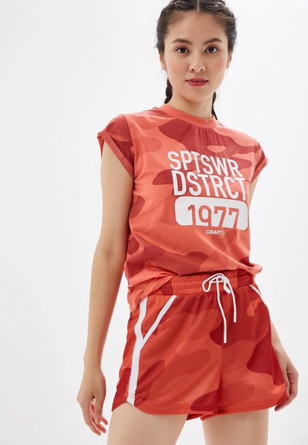 женская футболка craft, красная
