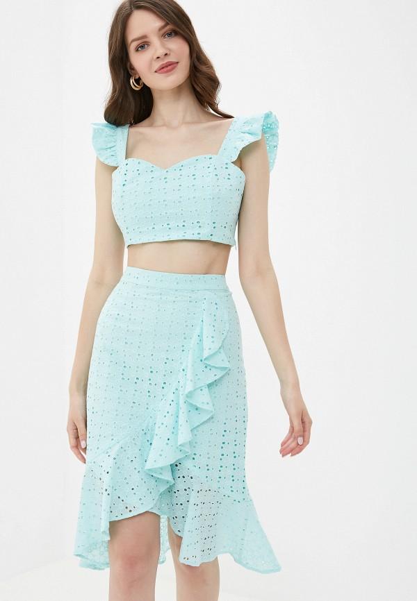 женский костюм self made, бирюзовый