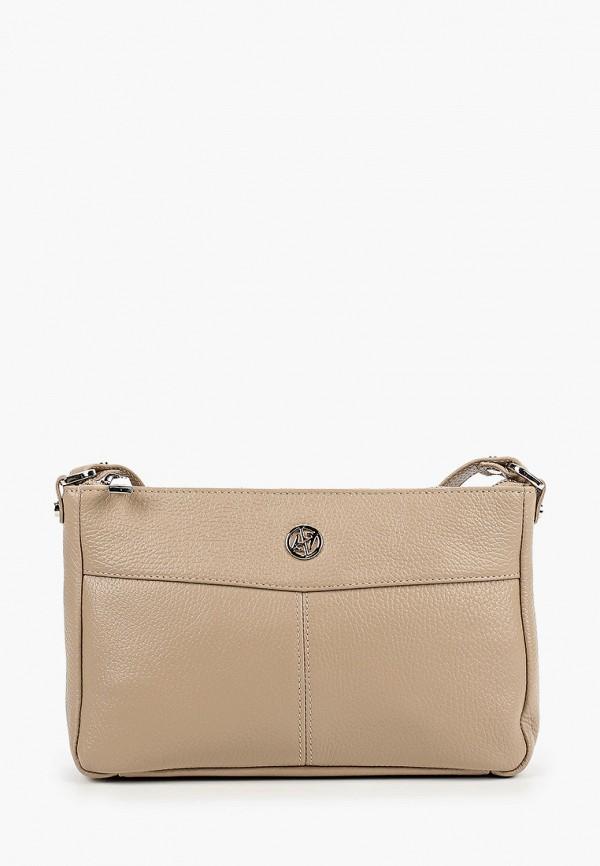 женская сумка через плечо afina, бежевая