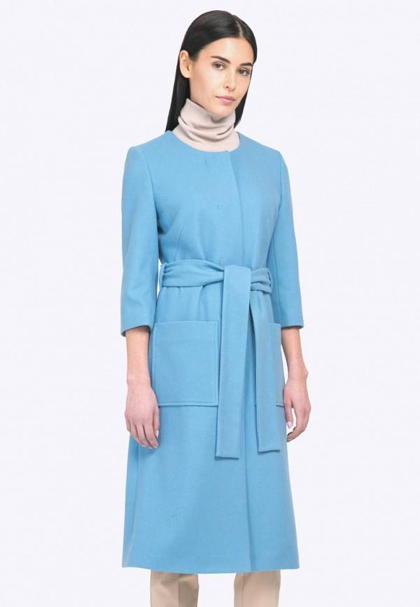 женское пальто emka, голубое