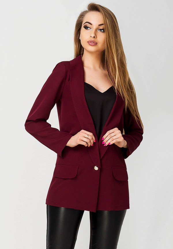 женский пиджак leo pride, бордовый