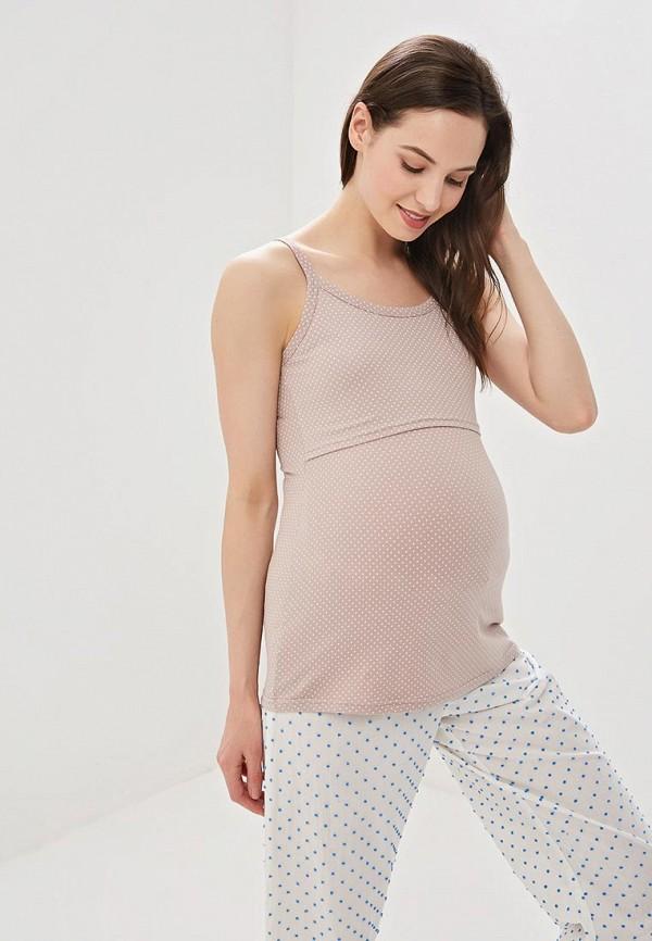 женская майка для беременных hunny mammy, бежевая