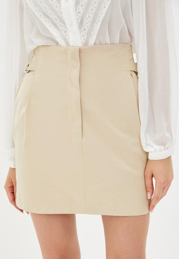 женская прямые юбка befree, бежевая