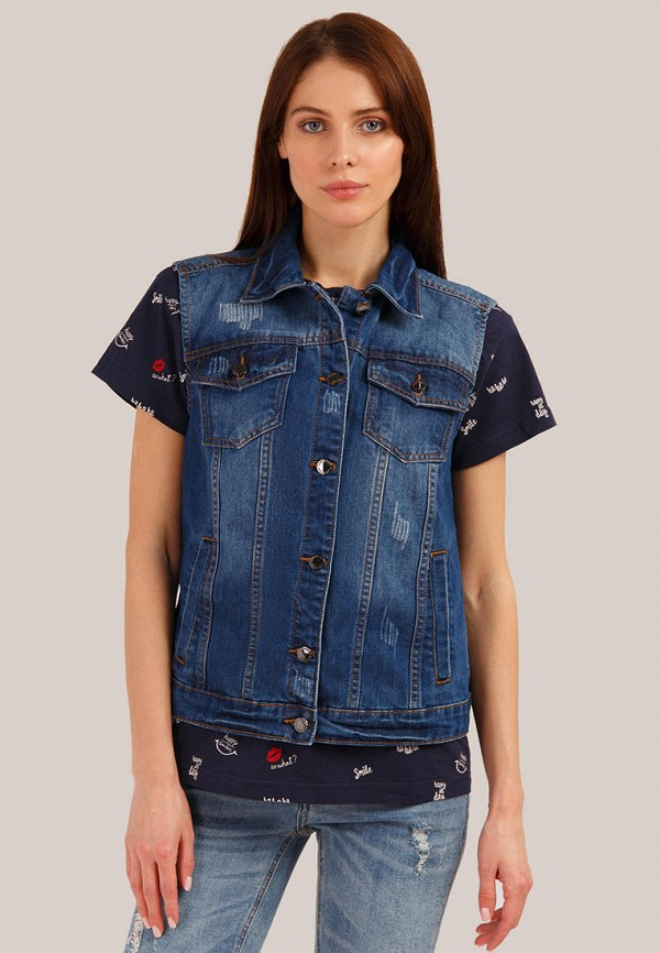 женский джинсовые жилет finn flare, синий