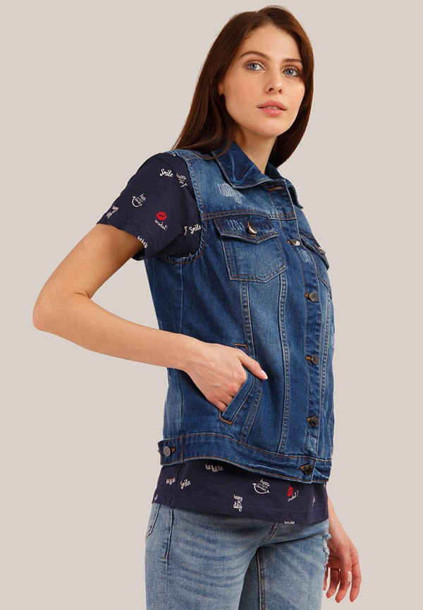 Жилет джинсовый Finn Flare цвет синий  Фото 4