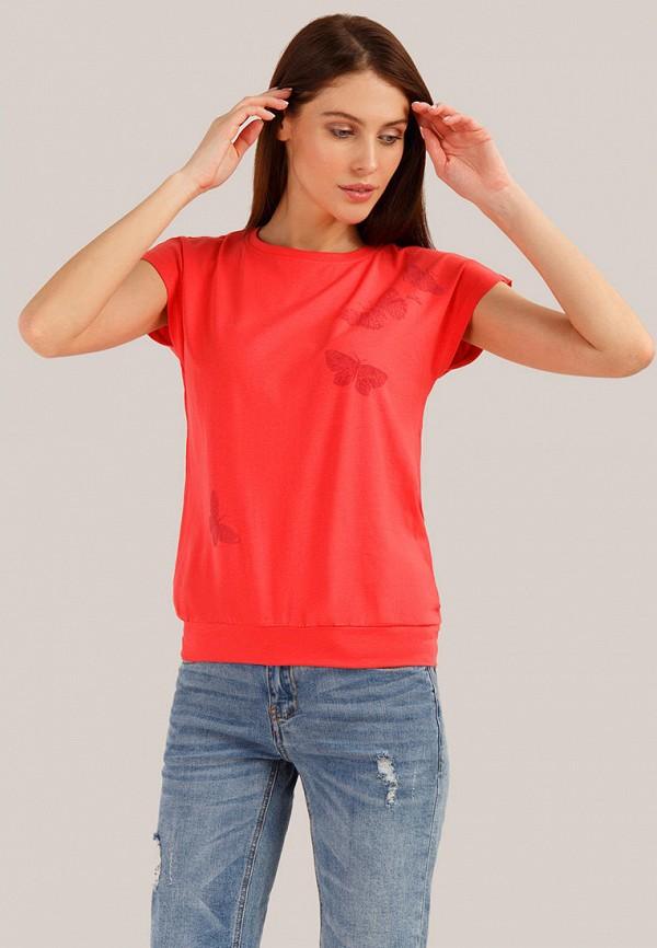 женская футболка finn flare, красная