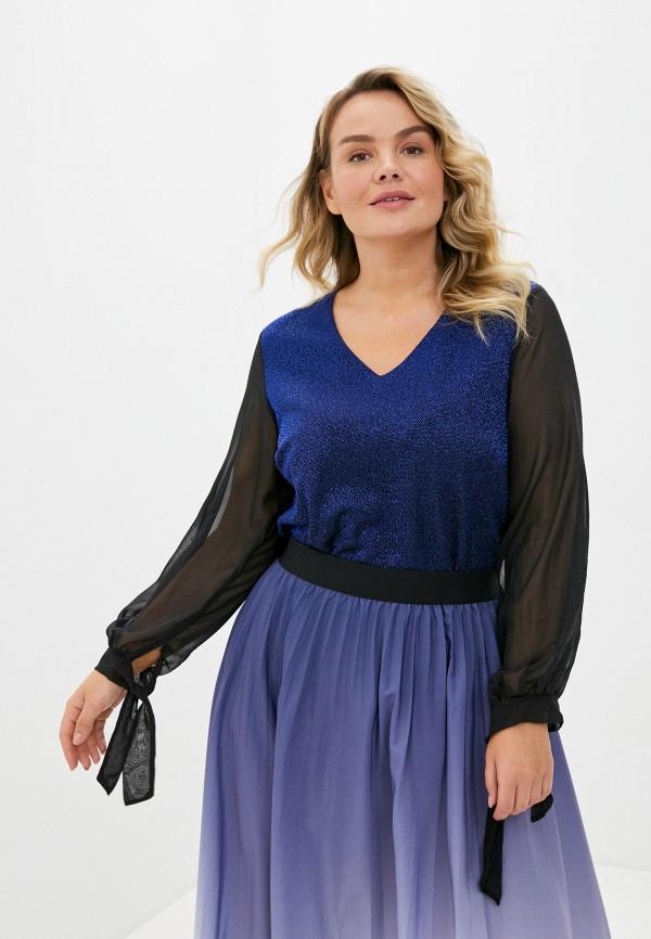 женская блузка с длинным рукавом olsi, синяя