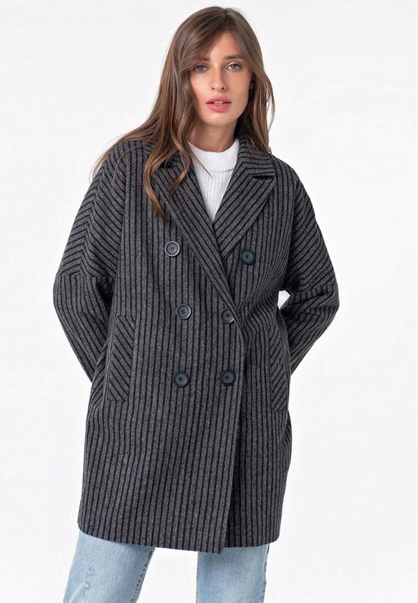 женское двубортные пальто fly, серое