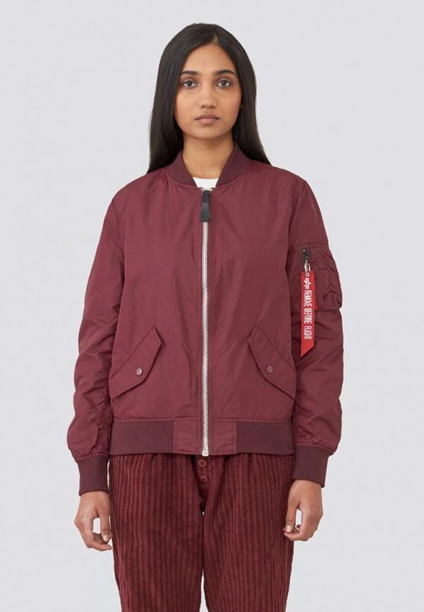 женская куртка alpha industries, бордовая