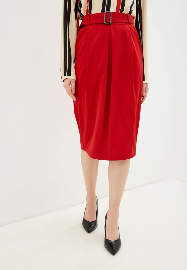 женская юбка миди анисима, красная