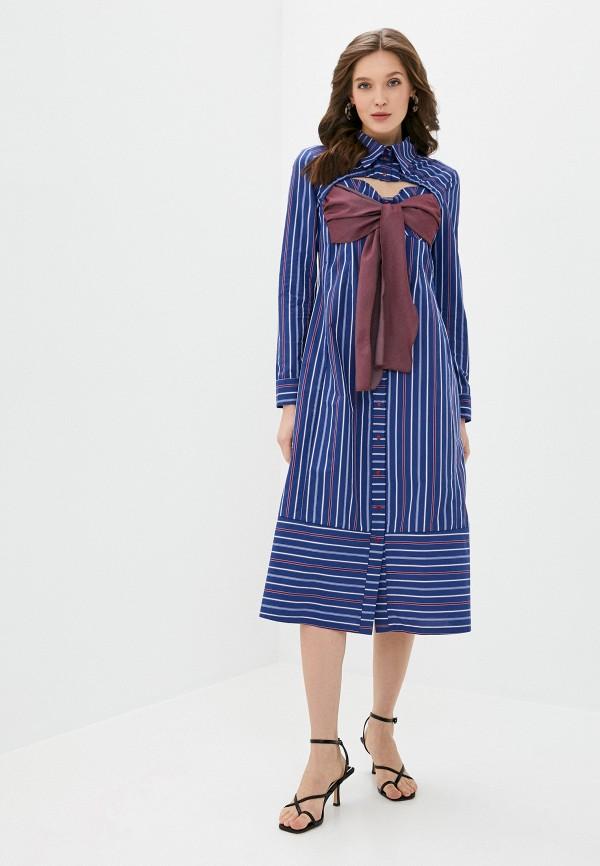 женское платье-рубашки adzhedo, синее