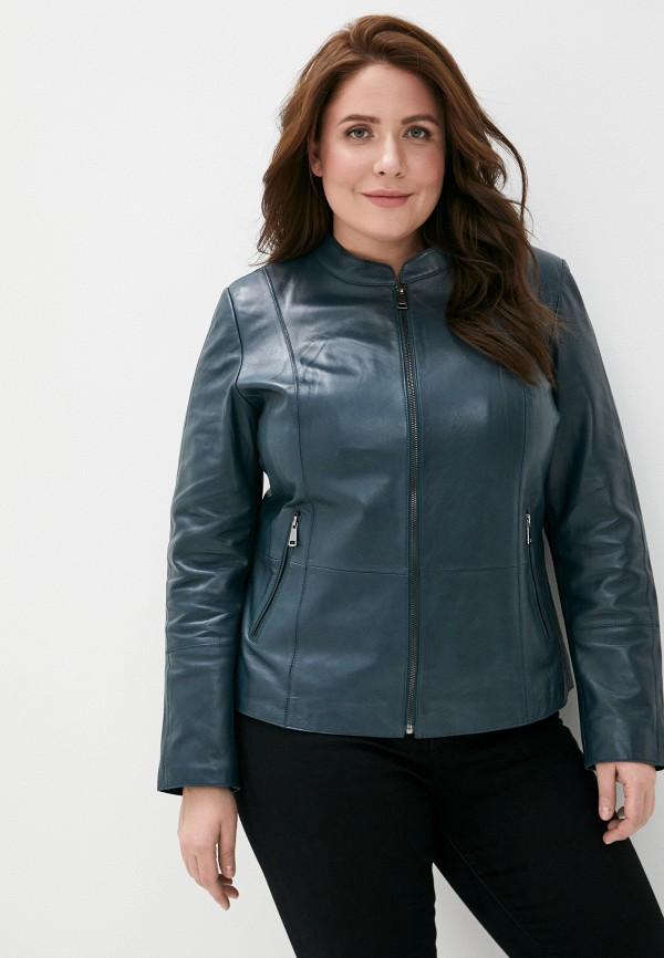 женская кожаные куртка le monique, бирюзовая