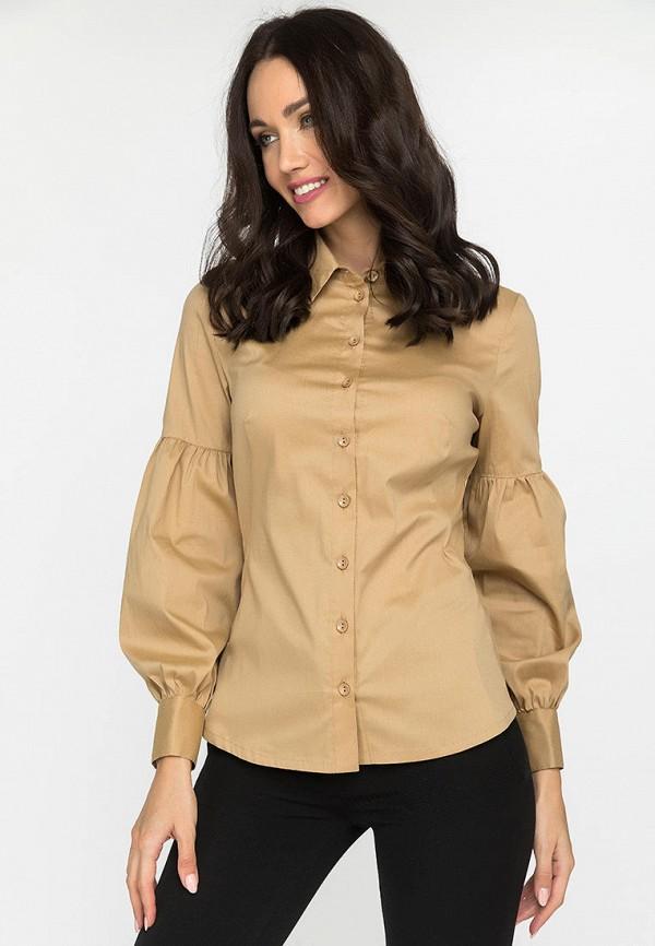 женская рубашка с длинным рукавом gloss, бежевая