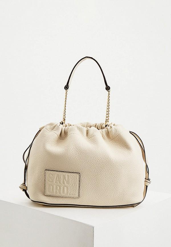 женская сумка с ручками sandro, бежевая