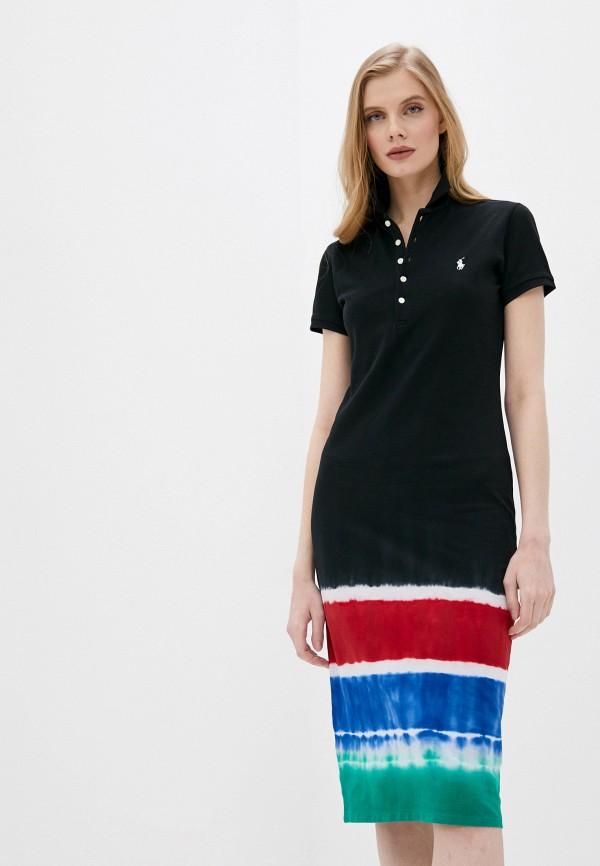 женское платье-футболки polo ralph lauren, черное