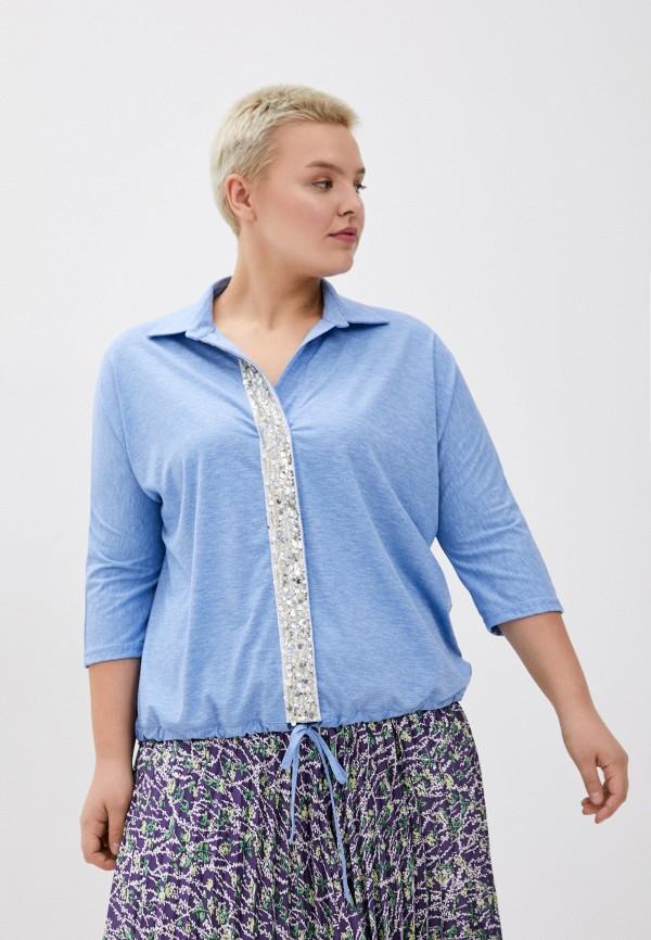женская блузка с длинным рукавом olsi, голубая