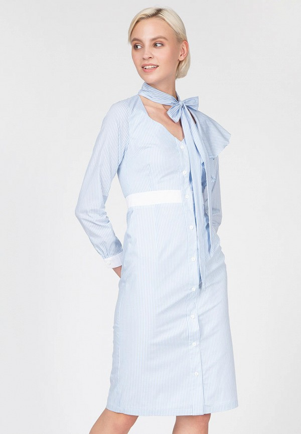 женское повседневные платье ornato, голубое