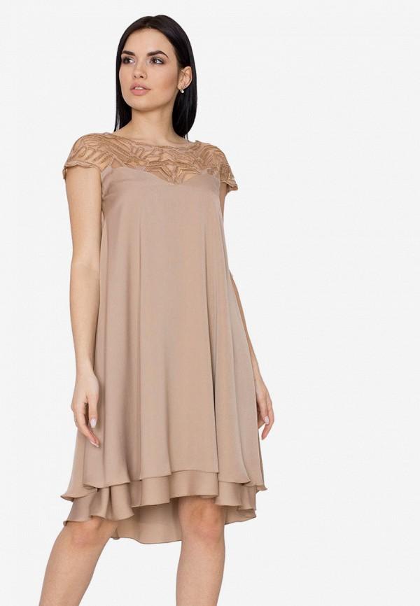 женское вечерние платье seam, бежевое