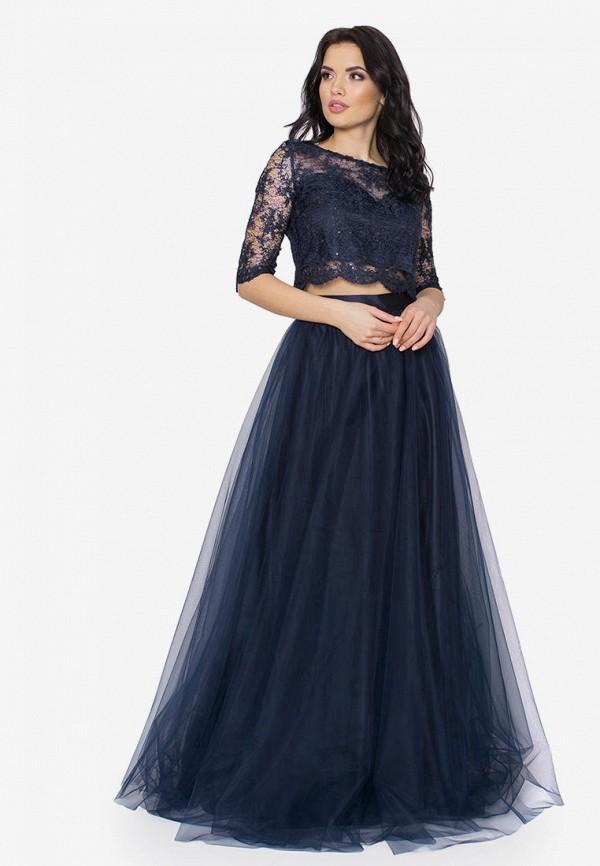 женское вечерние платье seam, синее