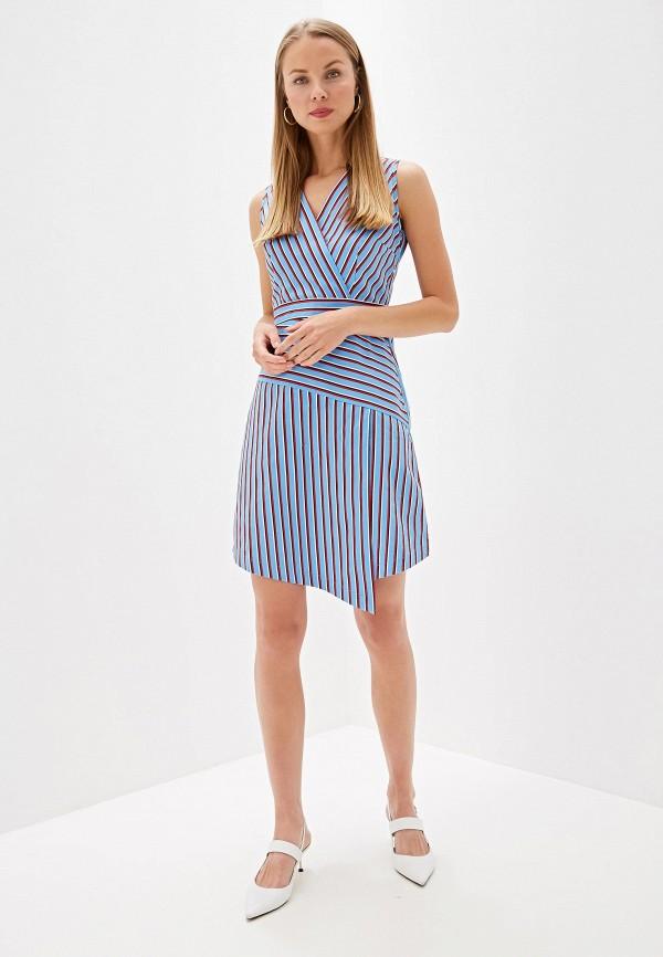 Фото 2 - Женское платье Olegra голубого цвета